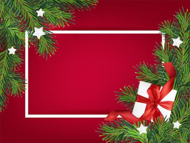 Ilustración de fondo rojo de feliz navidad, con una caja de regalo de malla