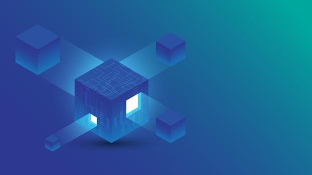 Ilustración de fondo de tecnología abstracta de conexión digital isométrica blockchain