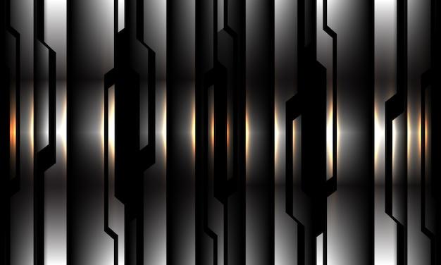 Ilustración de fondo de tecnología futurista moderna de luz amarilla de patrón de circuito negro plata abstracto.