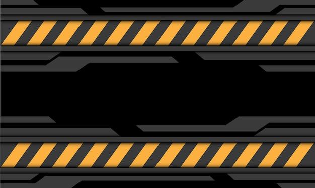Ilustración de fondo de tecnología futurista moderna símbolo de precaución de línea amarilla cibernética negra gris abstracta.