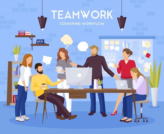 Ilustración de fondo de trabajo en equipo