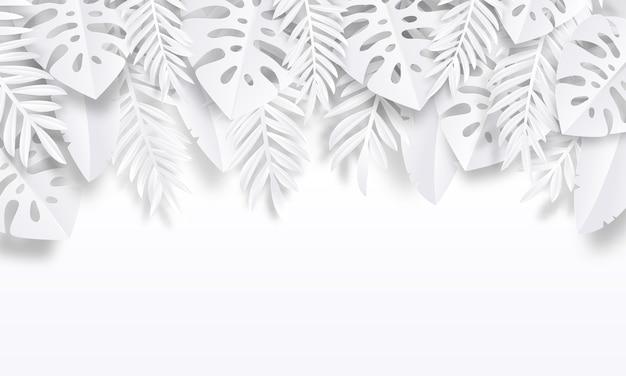 Ilustración de fondo tropical de corte de papel