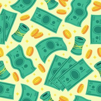 Ilustración de fondo de vector transparente de dólar de dinero de dibujos animados