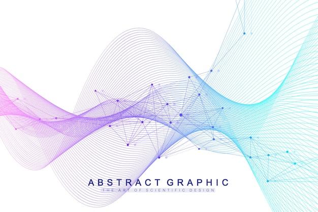 Ilustración de fondo de visualización de datos genómicos grandes