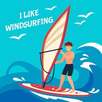 Ilustración de fondo de windsurf