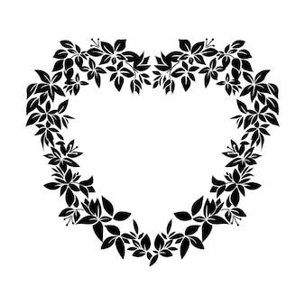 Ilustración de forma de corazón de flor negra, tatuaje sobre fondo blanco, vector aislado