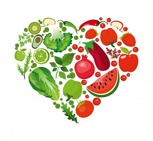 Ilustración en forma de corazón de frutas y verduras rojas. concepto orgánico de nutrición saludable en estilo plano.