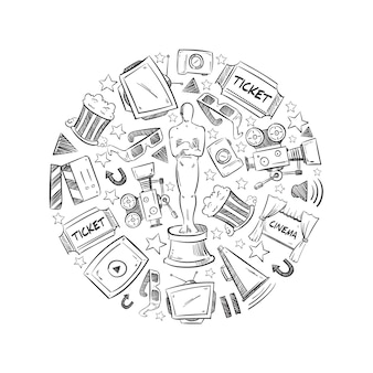Ilustración de forma redonda con elementos de la industria del cine.