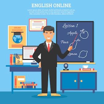 Ilustración de formación de educación en línea