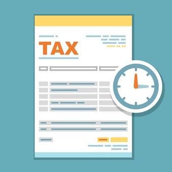 Ilustración de formulario de tiempo de pago de impuestos: recordatorio de impuestos del gobierno estatal, formulario de impuestos con reloj