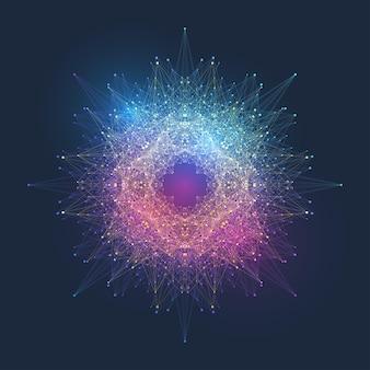 Ilustración fractal de flujo de hélice punteada de filotaxis generada por computadora