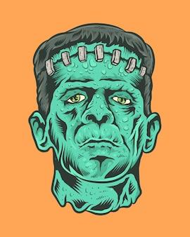 Ilustración de frankenstein de monstruo de terror vintage