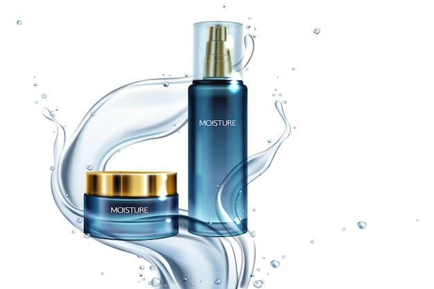 Ilustración con frasco de vidrio de cosméticos con tapa de oro, loción en salpicaduras de agua.