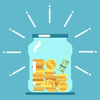 Ilustración de frasco de vidrio de dinero plano. concepto de ahorro de dinero