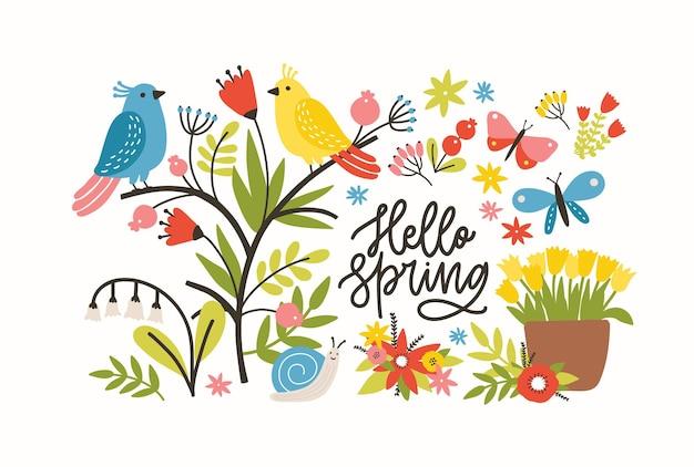 Ilustración con frase de hola primavera, flores de prado en flor, pájaros y mariposas muy divertidos lindos en blanco