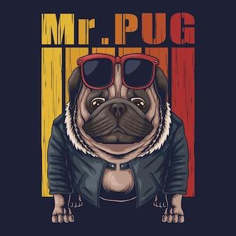 Ilustración fresca de perro pug