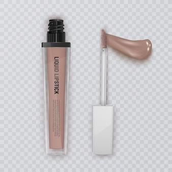Ilustración de frotis de lápiz labial, empaque de crema de lápiz labial femenino de cosméticos y frotis de líquido para maquillaje, realista