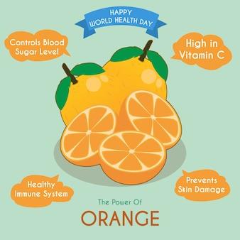 Ilustración de la fruta naranja y sus beneficios.