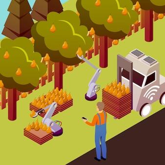 Ilustración de fruta robotizada