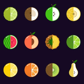 Ilustración de frutas en rodajas