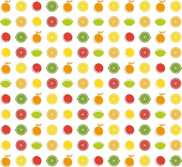 Ilustración de frutas sobre blanco