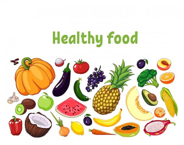 Ilustración de frutas y verduras con diversos objetos comestibles.