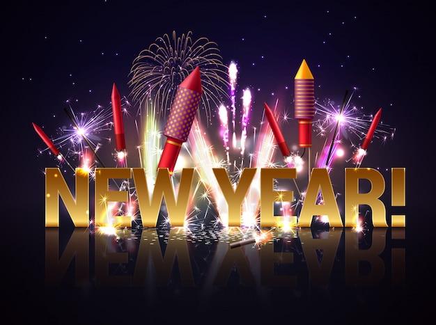 Ilustración de fuegos artificiales de año nuevo