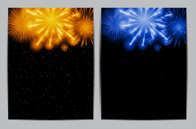 Ilustración de fuegos artificiales, saludo sobre un fondo oscuro