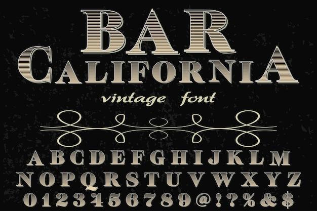 Ilustración de fuente de alfabeto de california de bar