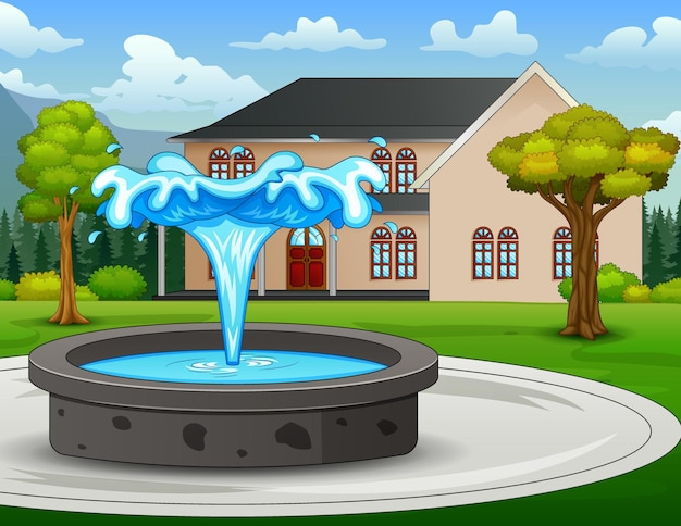 Ilustración de la fuente en el parque de la ciudad.