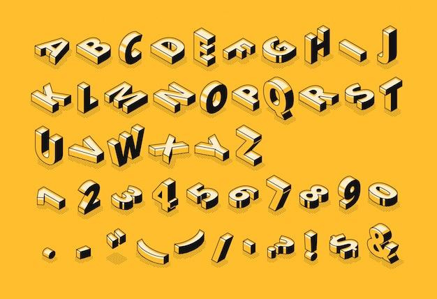 Ilustración de fuente de semitono de letras isométricas del alfabeto abstracto de la delgada línea de dibujos animados