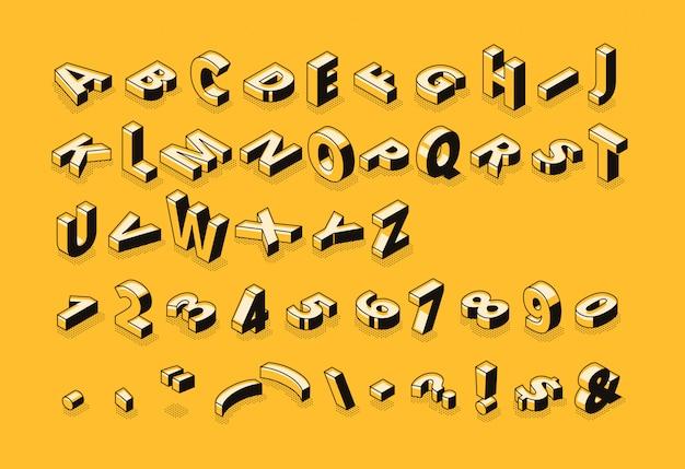 Ilustración de fuente de semitono de letras isométricas de tipografía de alfabeto abstracto de línea delgada de dibujos animados