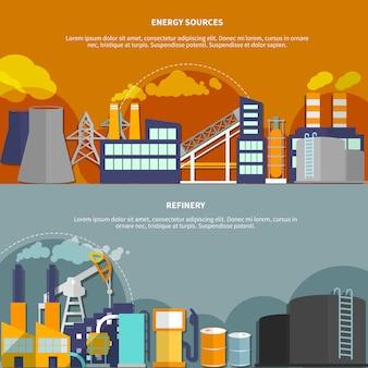 Ilustración con fuentes de energía y refinería.