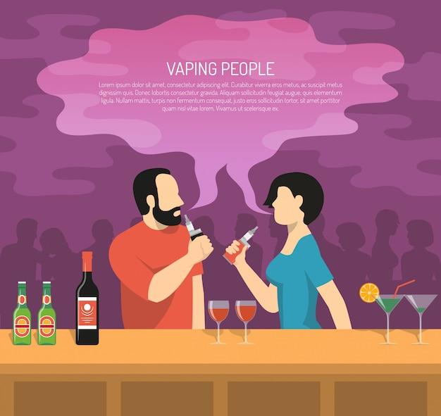 Ilustración de fumar cigarrillos electrónicos de vapor