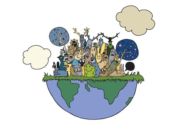 Ilustración de funny monsters population con los continentes de nuestro mundo