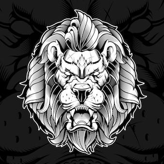 Ilustración furiosa cabeza de león