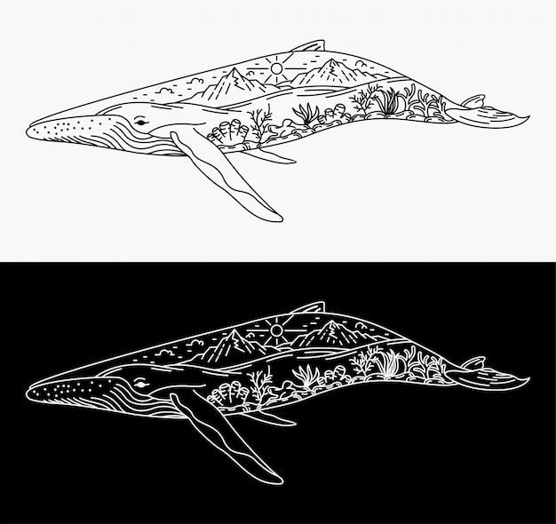 Ilustración de fusión de ballenas con paisajes, diseño monoline
