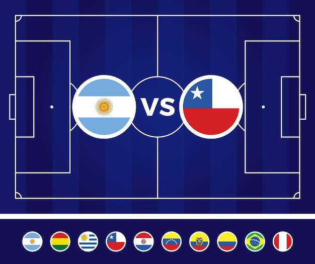 Ilustración de fútbol de américa del sur 2021 argentina colombia. equipo nacional versus en campo de fútbol.