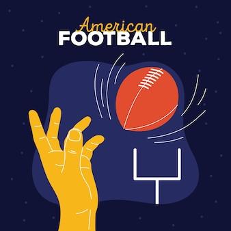 Ilustración de fútbol americano con pelota