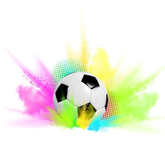 Ilustración de fútbol con una pelota en humo de color