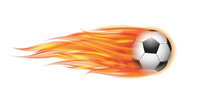 Ilustración de fútbol volador en llamas