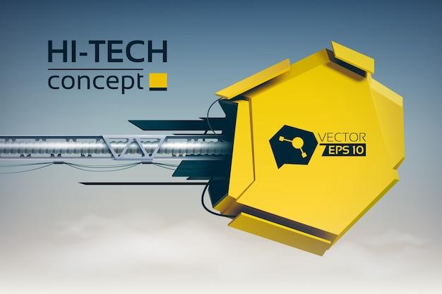 Ilustración futurista abstracta con objeto mecánico amarillo sobre pilar de metal en estilo de alta tecnología