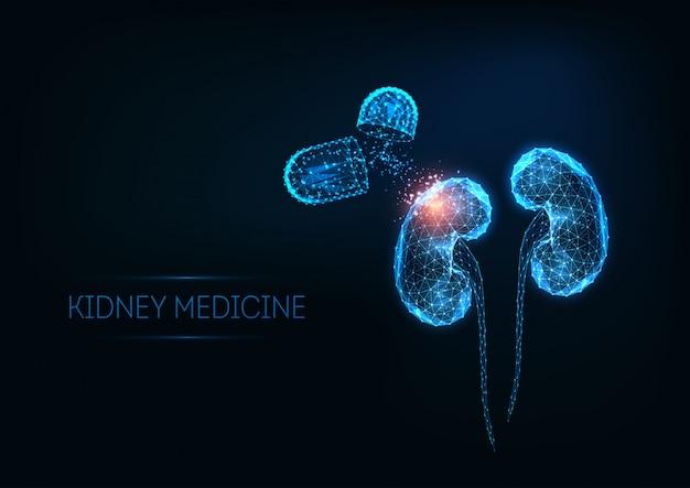 Ilustración futurista de medicina renal con riñones y píldoras poligonales brillantes