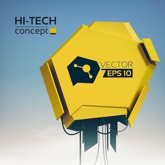 Ilustración futurista moderna ligera con objeto de metal amarillo en estilo de alta tecnología