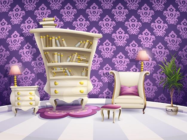 Ilustración de un gabinete de libros de dibujos animados con muebles blancos para princesas