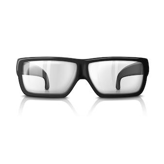 Ilustración de gafas realistas aislado en blanco. vidrio transparente para todos los fondos.