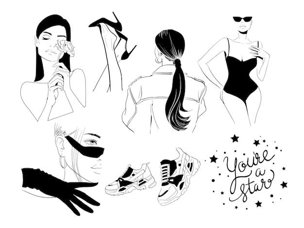 Ilustración de gafas de zapatillas de deporte de paquete negro de moda