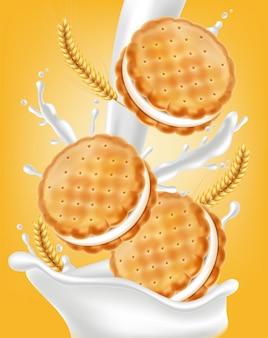 Ilustración de galletas de crema de vainilla