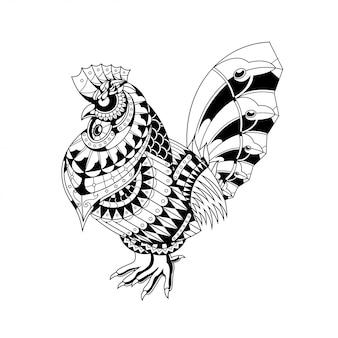 Ilustración de gallina, zentangle mandala y diseño de camiseta.