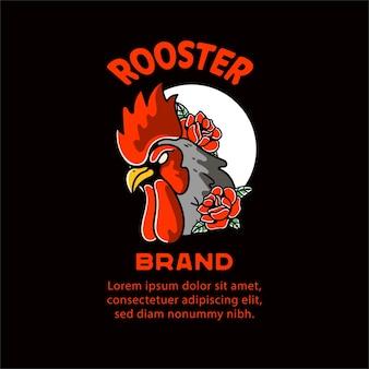 Ilustración de gallo para el personaje de diseño de camisetas.